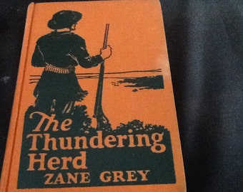 Vintage hardcover Zane Grey books, cowboy stories, guns,
