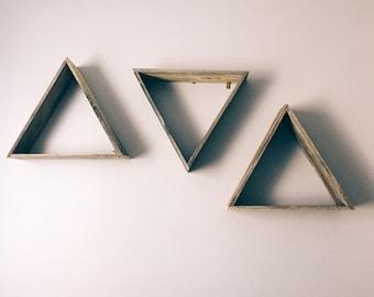 Reclaimed wood triangle shelves