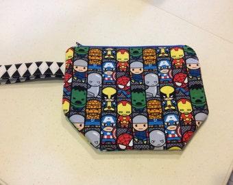 Knitting Project Bag - knitting bag, sock bag, zippered wedge bag, crochet
