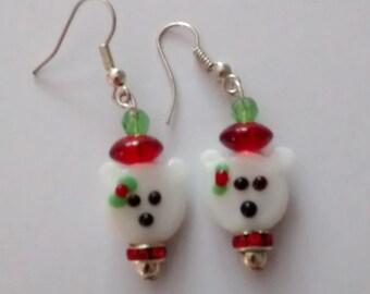 Christmas/holiday polar bear earrings