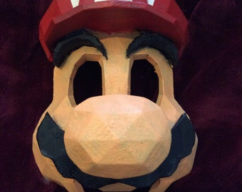 Mario mask, cosplay mask, 3D printed and hand painted