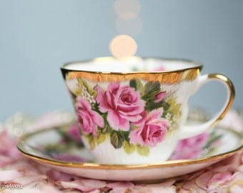 Vintage Rosina Queen's Cup with Roses and Gold Rims
