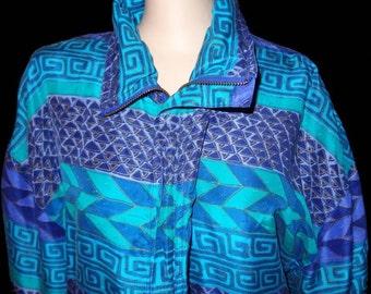 Vintage FUDA INTERNATIONAL Vibrant 100% Silk Zip Up Jacket in a size Large L