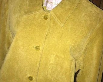 MARGARET GODFREY CHARTREUSE Leather Shirt jacket coat in a size Small S