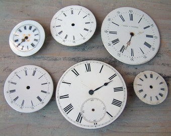 Set of 6 Antique french enamel pocket watch faces. Enamel pocket watch dials. 18th-19th century pocket watch face. Steampunk watch parts