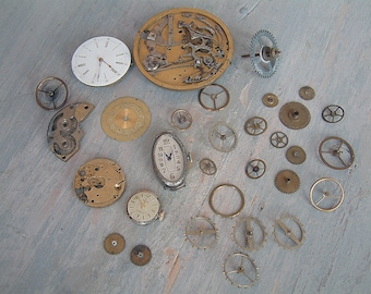 Antique french watch parts. Antique pocket watch parts. Pocket watch movements. Steampunk jewelry findings. Steampunk watch parts. 31 pieces