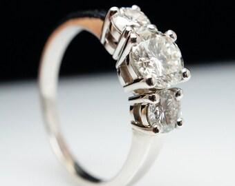 Classic Three Stone Diamond Engagement Ring 14k White Gold    1 ctw ring 3 stone diamond ring brilliant diamond 1ct ring 1ct engagement