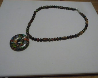 Mardi Gras Jasper and Robles Wood Necklace