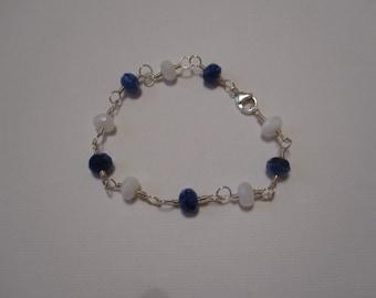 Czech Glass and Silver Wire-Wrap Bracelet