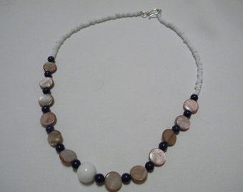 Glass and Shell Bead Necklace