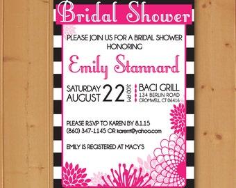 Pink and Black Floral Bridal Shower, Bridal Shower Invitation, Floral Bridal Shower Invitation, Pink and Black, Downloadable Invitation