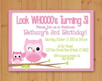 Owl Birthday, Owl Birthday Party, Owl Birthday Party Invitation, Children's Birthday Party Invitation,Owl Invitation,Downloadable Invitation