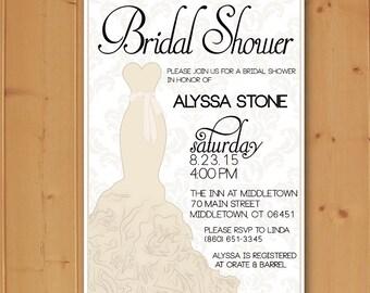 Bridal Shower Dress Invitation, Bridal Shower Invitation, Dress Bridal Shower Invitation, Wedding Dress Invitation, Downloadable File