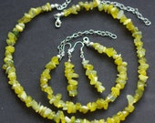 Lemon Jade Necklace, Earrings and Bracelet Set ~ Jade Jewellery ~ Yellow Stones ~ Semi Precious Stones ~ Made in Canada ~ Gift for Mom