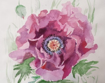 "Original Watercolor Painting ""Violet poppy"", 21x29,7 cm (8,3x11,7 inch)."