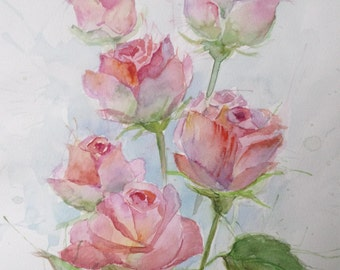 "Original Watercolor Painting ""Roses"", 21x29,7 cm (8,3x11,7 inch)."