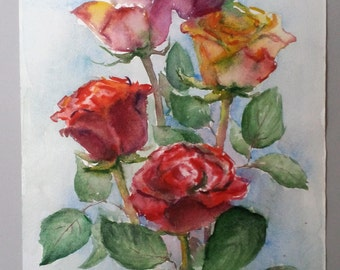"Original Watercolor Painting ""Roses"", 35x24,7 cm (13,7x9,7 inch), 2013."