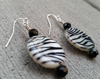 Sale! Black and White Zebra Stripe Dangle Earrings