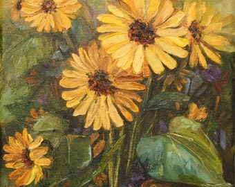 Original Oil Painting - Yellow Daisies Palette knife painting