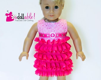American made Girl Doll Clothes, 18 inch Girl Doll Clothing, Hot Pink Ruffled Dress made to fit like American girl doll clothes