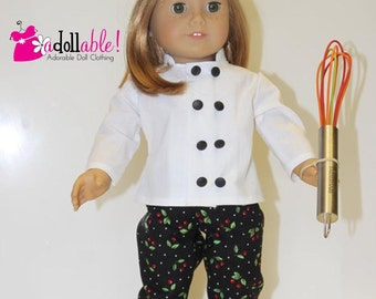 American made Girl Doll Clothes, 18 inch Girl Doll Clothing, Chef Outfit made to fit like American girl doll clothes