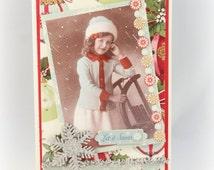 Christmas Card Let It Snow Vintage Style Christmas Card Old Photograph Holiday Card Retro  Snowflake Christmas Gift Christmas Decor Xmas