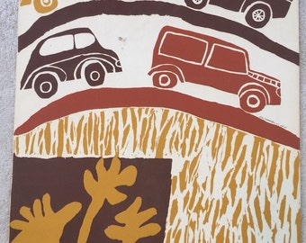"Vintage original ""Cars-Earth Tones"" screenprint by Gail Holliday, Columbia, Maryland, 1967"