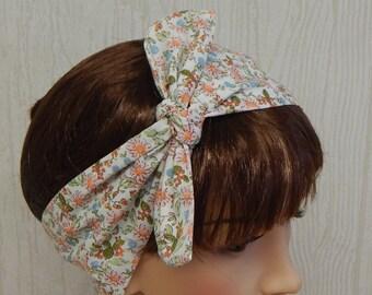 Retro Style Headband, Self Tie Head Scarf, Dolly Bow Hair Band, 50's Hair Wrap, Womens Headband