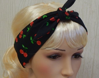 Rockabilly Cherry Berry 50's Headband Pinup Hair Wrap Black and Red Berries Retro Hair Scarf