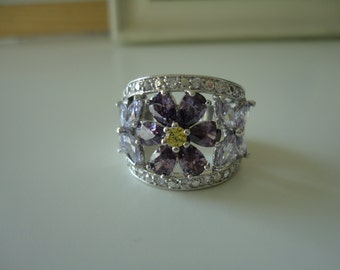 amethyst toumaline unique beautiful ring with sterling silver