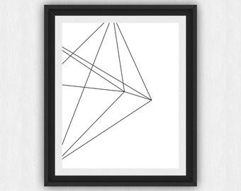 Polyhedron Print, Polyhedron Wall Art, Polyhedron Wall Print, Triangle Polyhedron, Geometric Polyhedron, Geometric Wall Art, (art68)