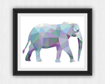 Elephant Print, Elephant Wall Art, Elephant Wall Print, Triangle Elephant, Geometric Animal, Geometric Wall Art, (art204)