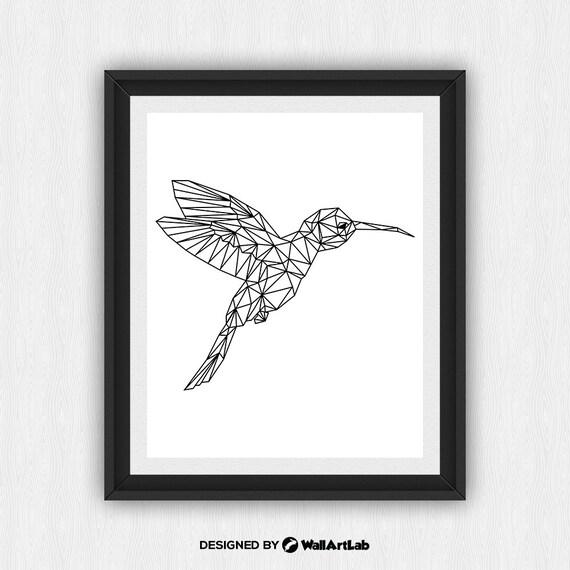 hnliche artikel wie kolibri print hummingbird wandkunst geometrische kolibri dreieck tier. Black Bedroom Furniture Sets. Home Design Ideas