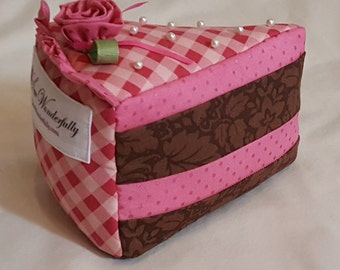 Slice of Cake Pin Cushion, Strawberry Chocolate Plaid