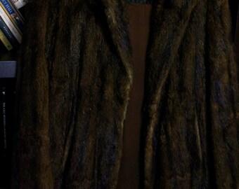 1940s Vintage Mink Dark Brown Scanbrown Fur 3/4 Length Coat (Item #80003) - Vintage Clothing, Retro Style, Women's Accessories