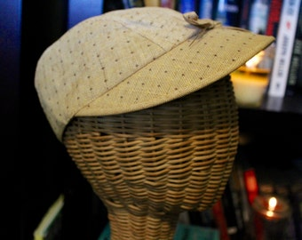 1940s Vintage Straw Hat with Bow and Brim (Item #90015)