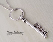 Dream Key Necklace - Antique Silver Jewelry - Old Fashioned Key Charm