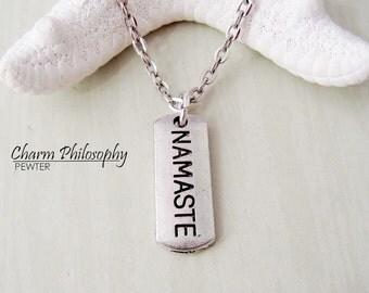 Namaste Necklace - Yoga Jewelry - Radio Jewelry - Antique Silver Toned Jewelry