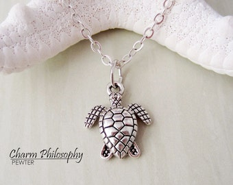 Sea Turtle Necklace - Ocean Life Jewelry - Antique Silver Toned Jewelry