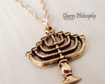 Gold Jewish Menorah Necklace - Pewter Menorah Charm - Antique Gold Pewter Jewelry