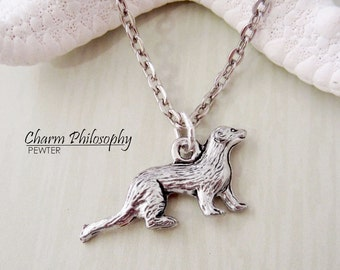 Ferret Necklace - Antique Silver Pewter Jewelry - Ferret Charm