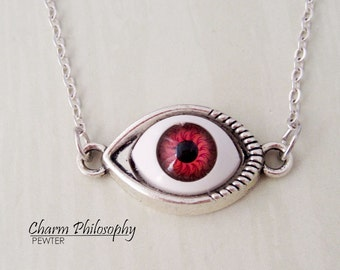 Eyeball Necklace - Hazel / Red Eye Jewelry - Antique Silver Toned Jewelry - Zombie Eye