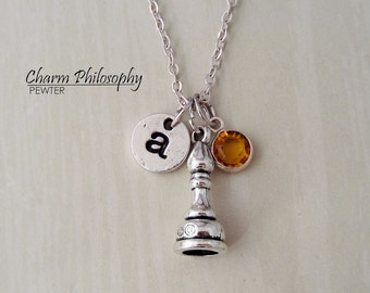 Bishop Chess Piece Necklace - Antique Silver Chess Jewelry - Monogram Personalized Initial and Birthstone