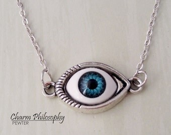 Eyeball Necklace - Blue Eye Jewelry - Antique Silver Toned Jewelry