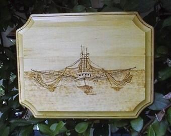 Shrimp trawler, boat woodburning, marine fishing, boat pyrography, shrimp boat wood art