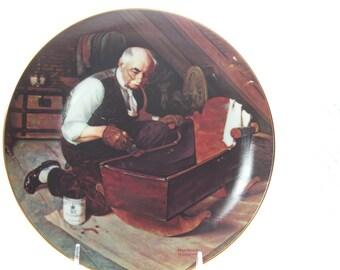 Vintage Edwin M. Knowles, Norman Rockwell's Grandpa's Gift Commemorative fine china Plate, Grandpa and Crib, 1st Plate in Golden Moments