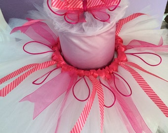 Baby Girl TuTu, White and Pink