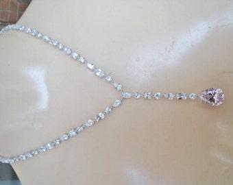 Sterling C Z Stone Necklace w/ Pink Stone