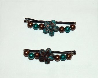 Brown and Seagreen Beaded Bobby Pins ~ Set of two