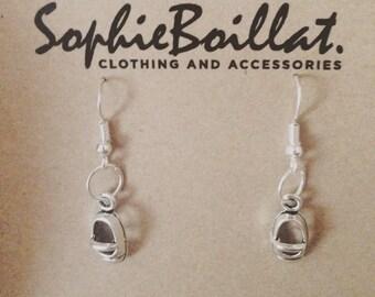Handmade silver shoe earrings